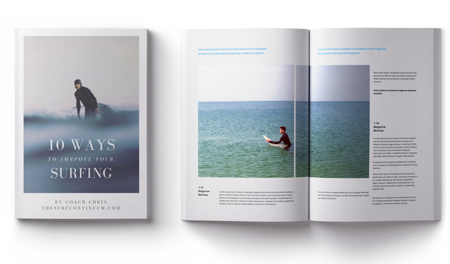 A Mockup of our Free Ebook about how to improve your surfing