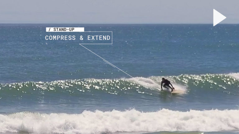 Surfer displaying the best pop-up technique is actually a stand up